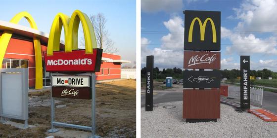 McDonaldsschild: < vorher | nachher >